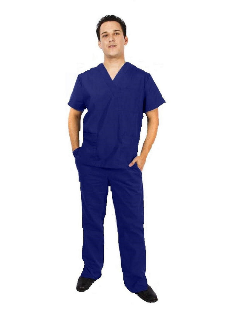 Natural Uniforms Men's Scrub Set Medical Scrub Top and Pants Navy
