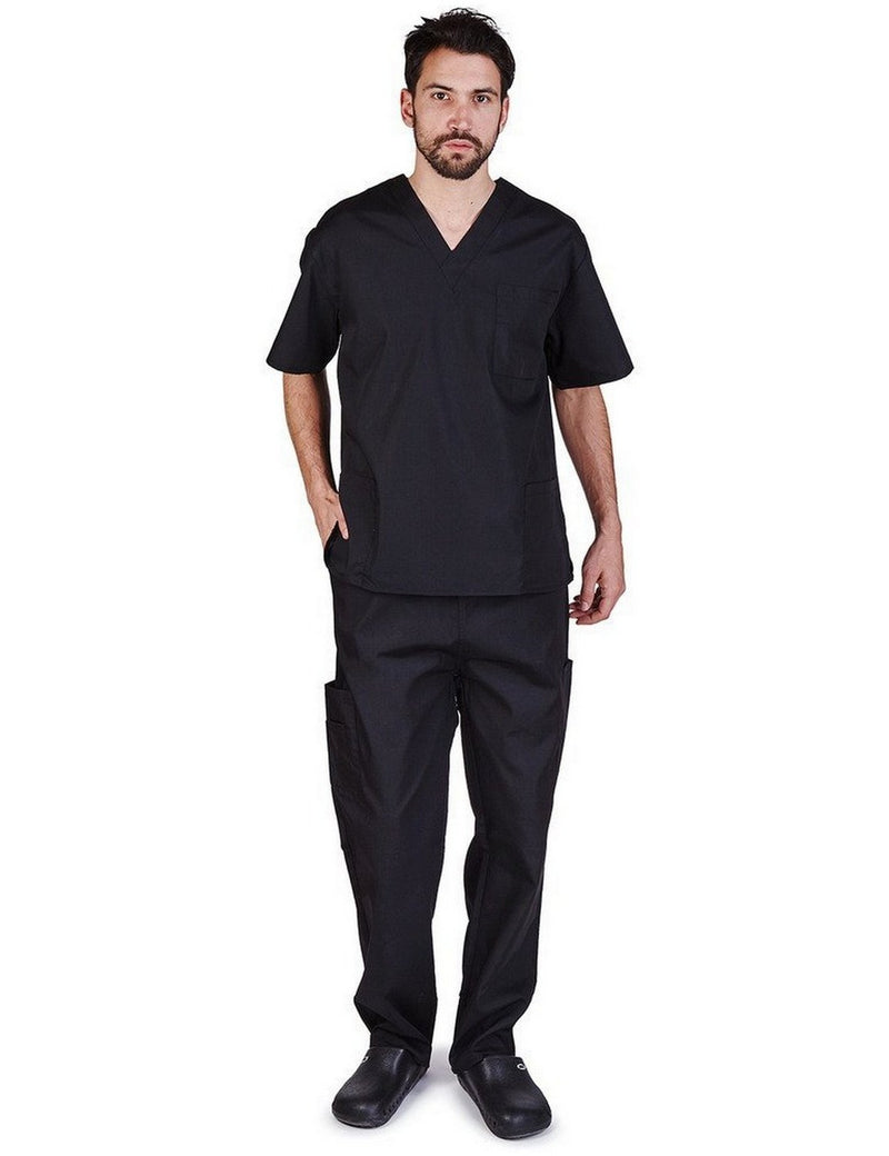 Natural Uniforms Men's Scrub Set Medical Scrub Top and Pants Black