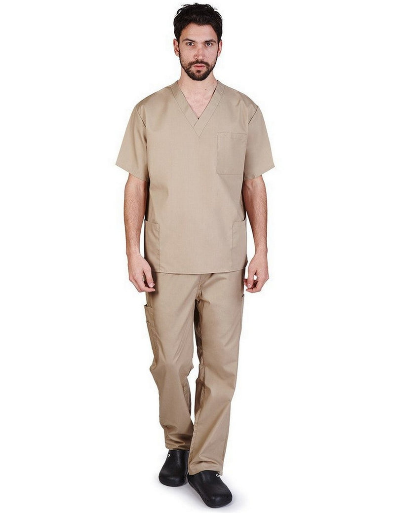 Natural Uniforms Men's Scrub Set Medical Scrub Top and Pants Khaki
