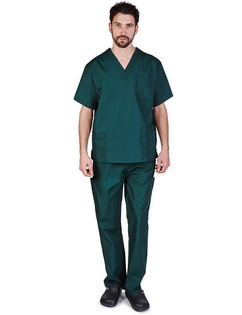 Natural Uniforms Men's Scrub Set Medical Scrub Top and Pants Hunter