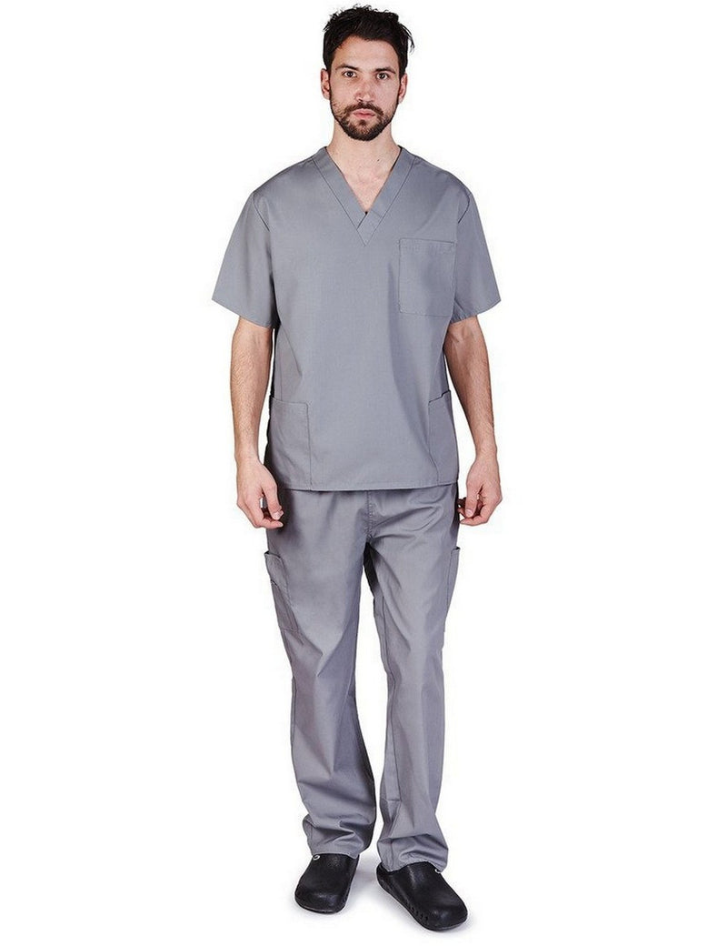 Natural Uniforms Men's Scrub Set Medical Scrub Top and Pants Charcoal
