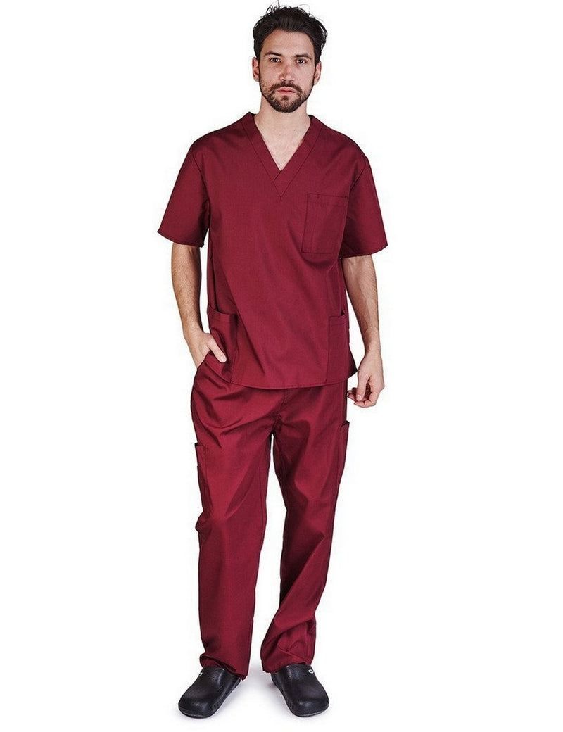 Natural Uniforms Men's Scrub Set Medical Scrub Top and Pants Burgundy