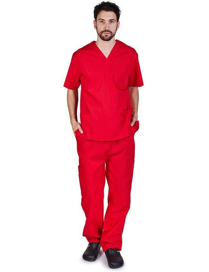 Natural Uniforms Men's Scrub Set Medical Scrub Top and Pants Red