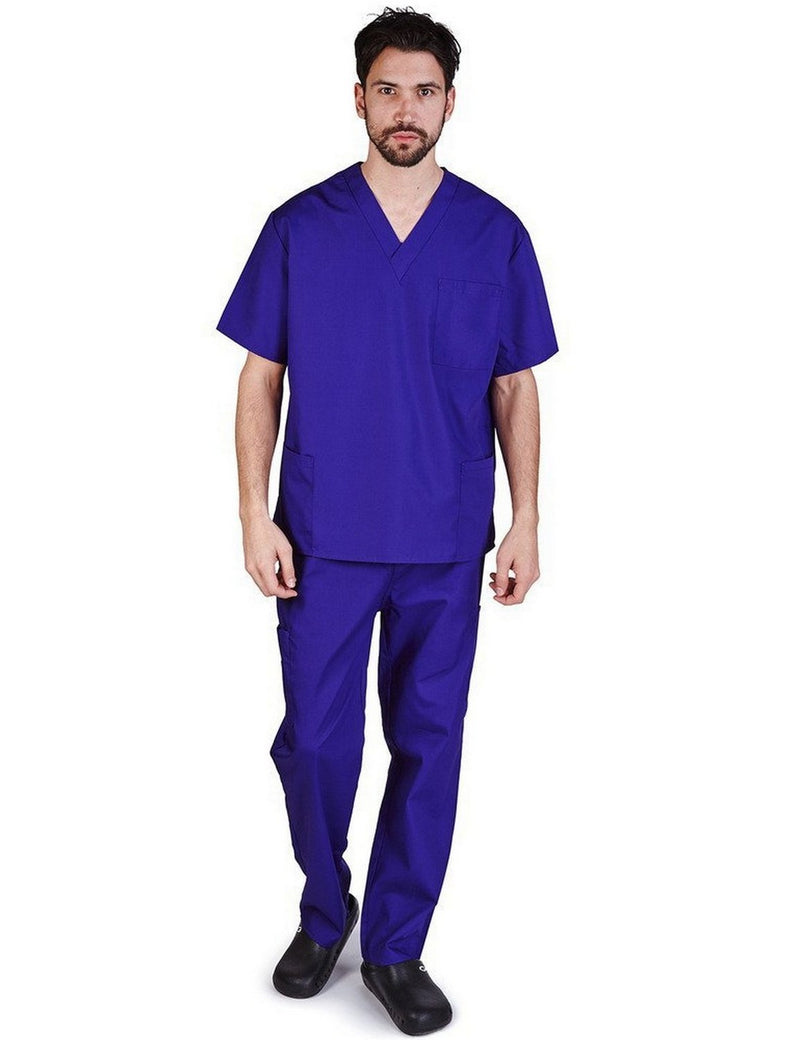 Natural Uniforms Men's Scrub Set Medical Scrub Top and Pants Purple