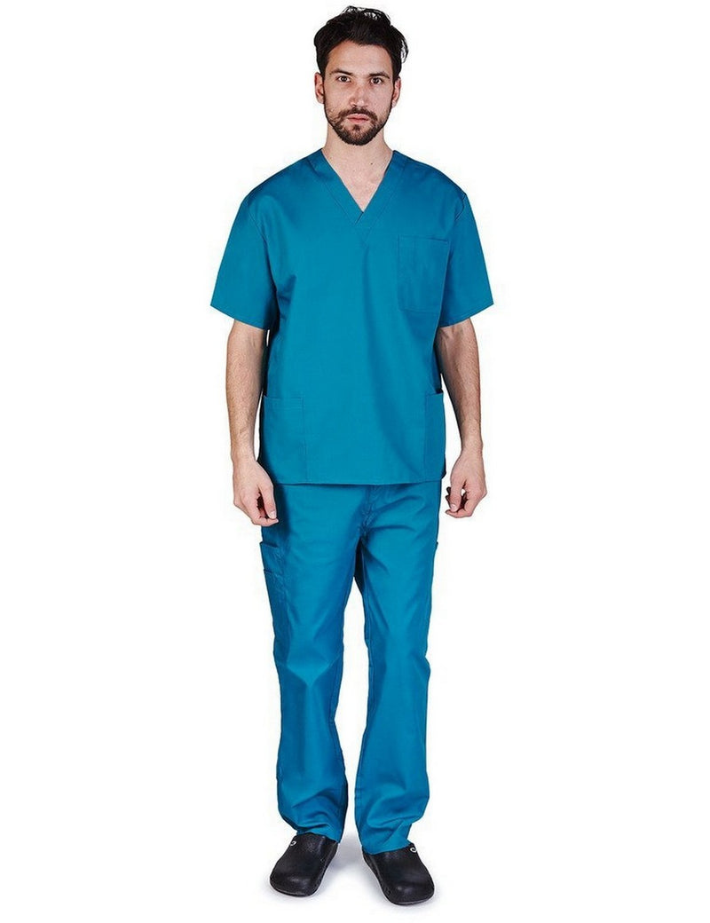Natural Uniforms Men's Scrub Set Medical Scrub Top and Pants Teal