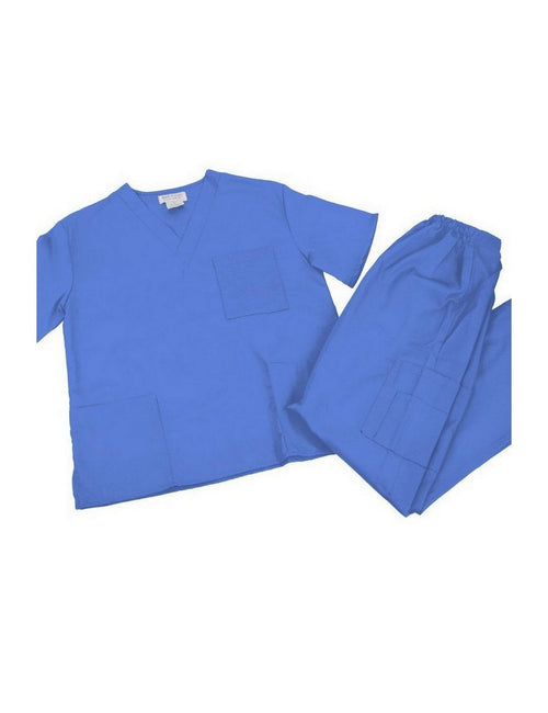 M&M SCRUBS Women Set Medical Top and Pants. Run Large Ceil Blue