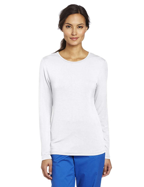 WonderWink Women's Scrubs Silky Long-Sleeve T-Shirt White