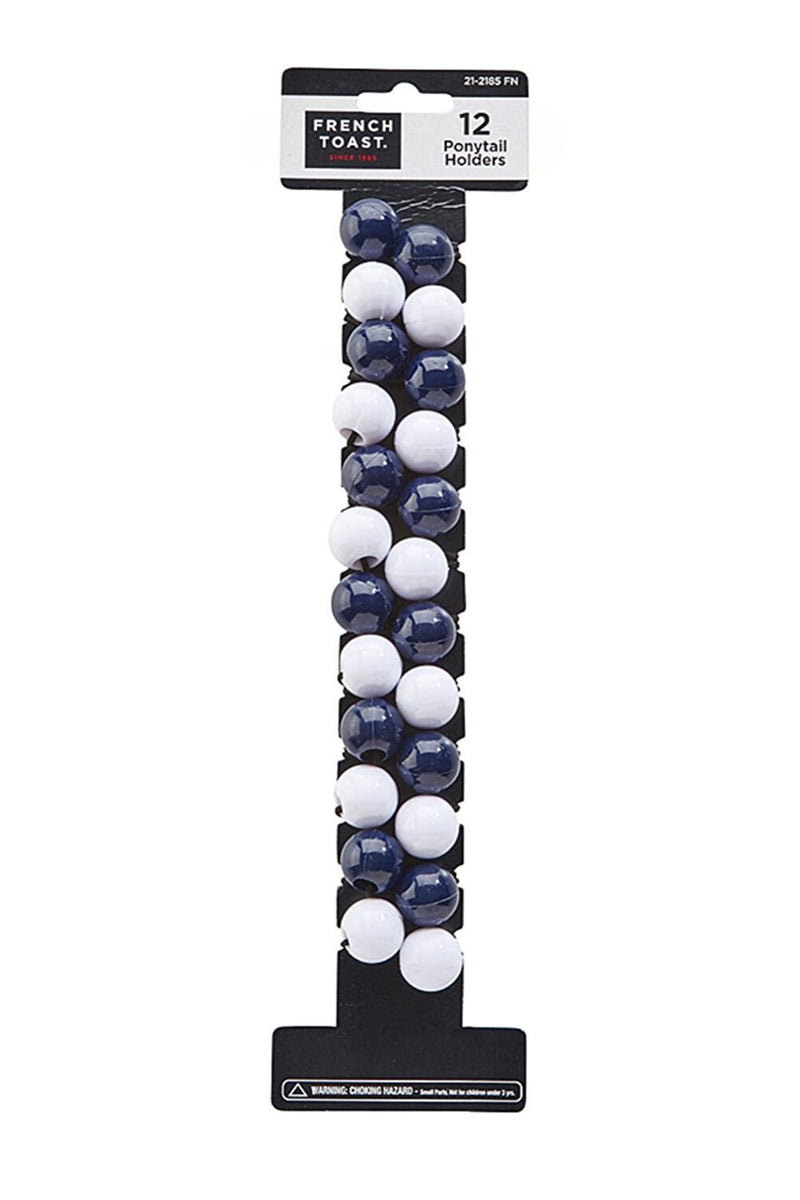 French Toast Ponytail Balls 12-Pack Navy
