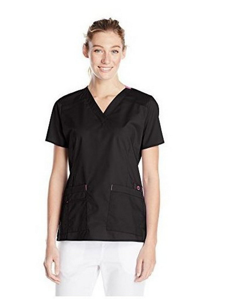WonderWink Women's Wonderflex Verity Scrub Top Black