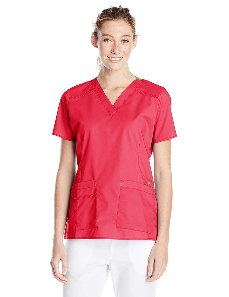 WonderWink Women's Wonderflex Verity Scrub Top Red