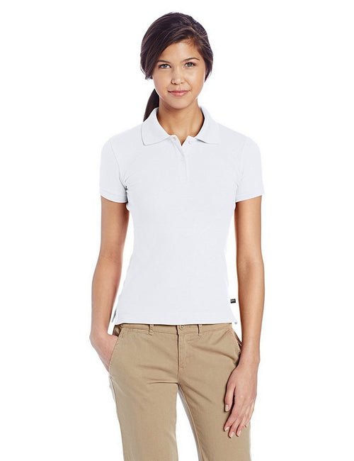 Lee Uniforms Juniors' Stretch Pique Polo Shirt White