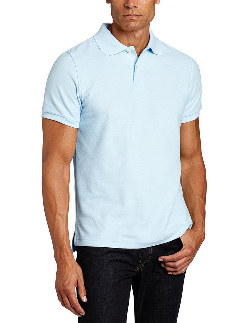 Lee Uniforms Men's Modern Fit Short Sleeve Polo Shirt Light Blue