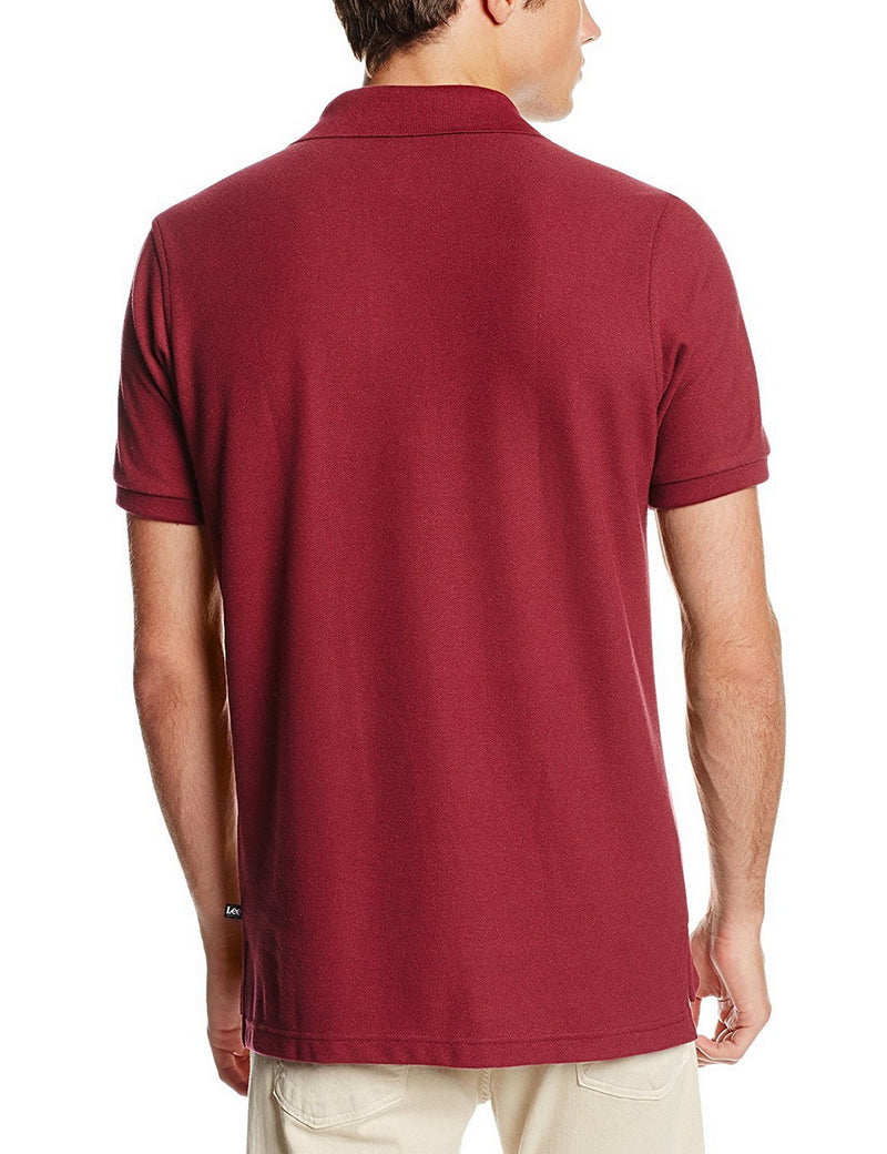 Lee Uniforms Men's Modern Fit Short Sleeve Polo Shirt Burgundy