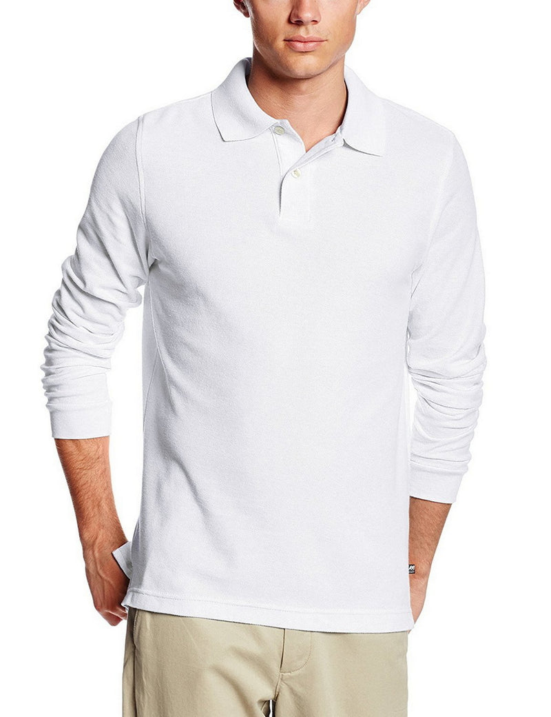 Lee Uniforms Men's Modern Fit Long Sleeve Polo White