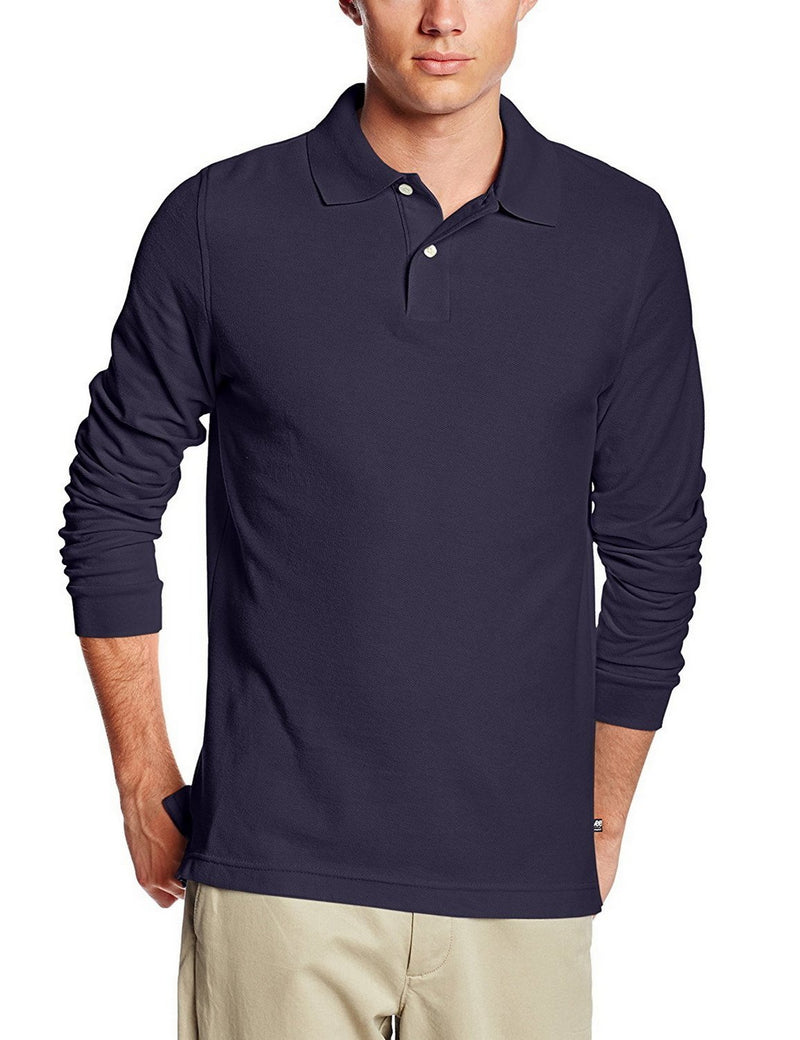 Lee Uniforms Men's Modern Fit Long Sleeve Polo Navy