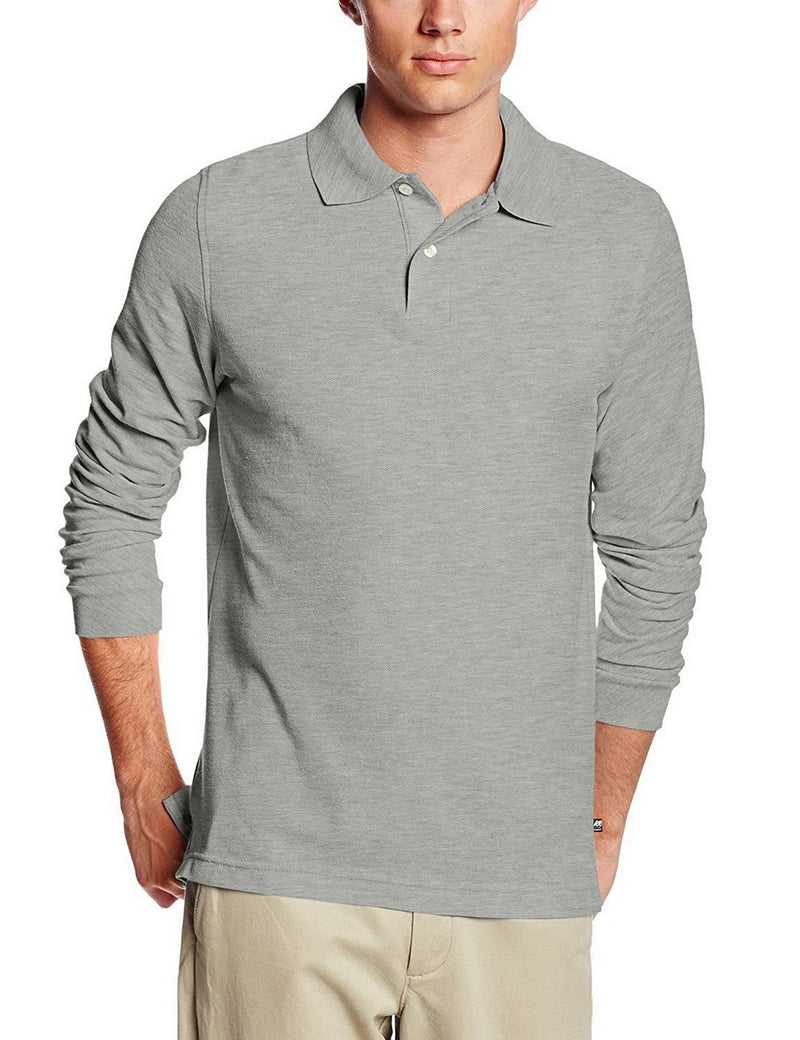 Lee Uniforms Men's Modern Fit Long Sleeve Polo Grey