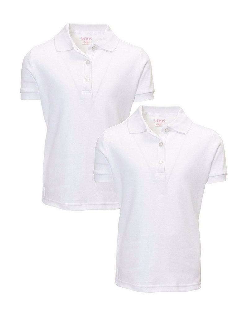 French Toast Girl's Uniform Polo 2 Pack Short Sleeve Interlock White
