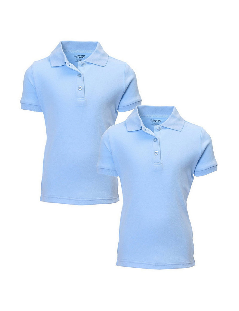 French Toast Girl's Uniform Polo 2 Pack Short Sleeve Interlock Light Blue