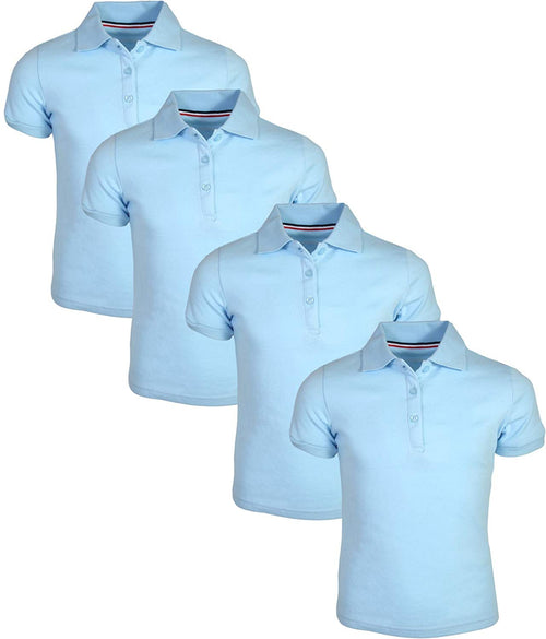 French Toast Girl's Uniform Polo 4 Pack Short Sleeve Interlock Light Blue/Light Blue