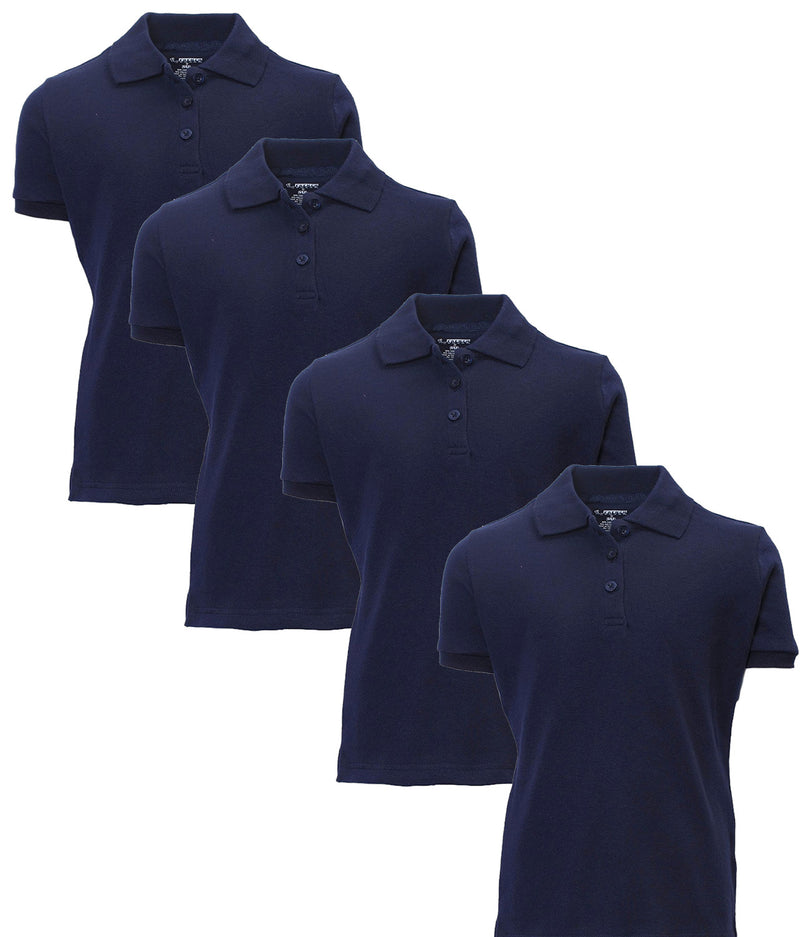 French Toast Girl's Uniform Polo 4 Pack Short Sleeve Interlock Navy/Navy