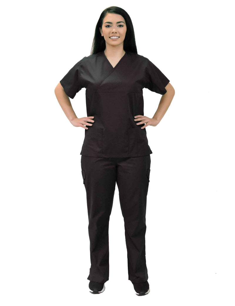 Lizzy-B Collection Women's 6 pocket Fashion Set  (Mock wrap top with cargo pant) Black