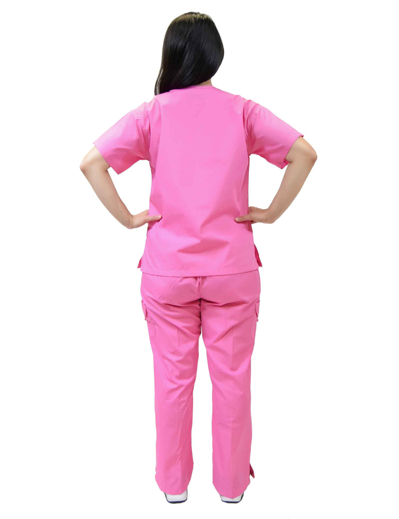 Lizzy-B Collection Women's 6 pocket Fashion Set  (Mock wrap top with cargo pant) Hot Pink