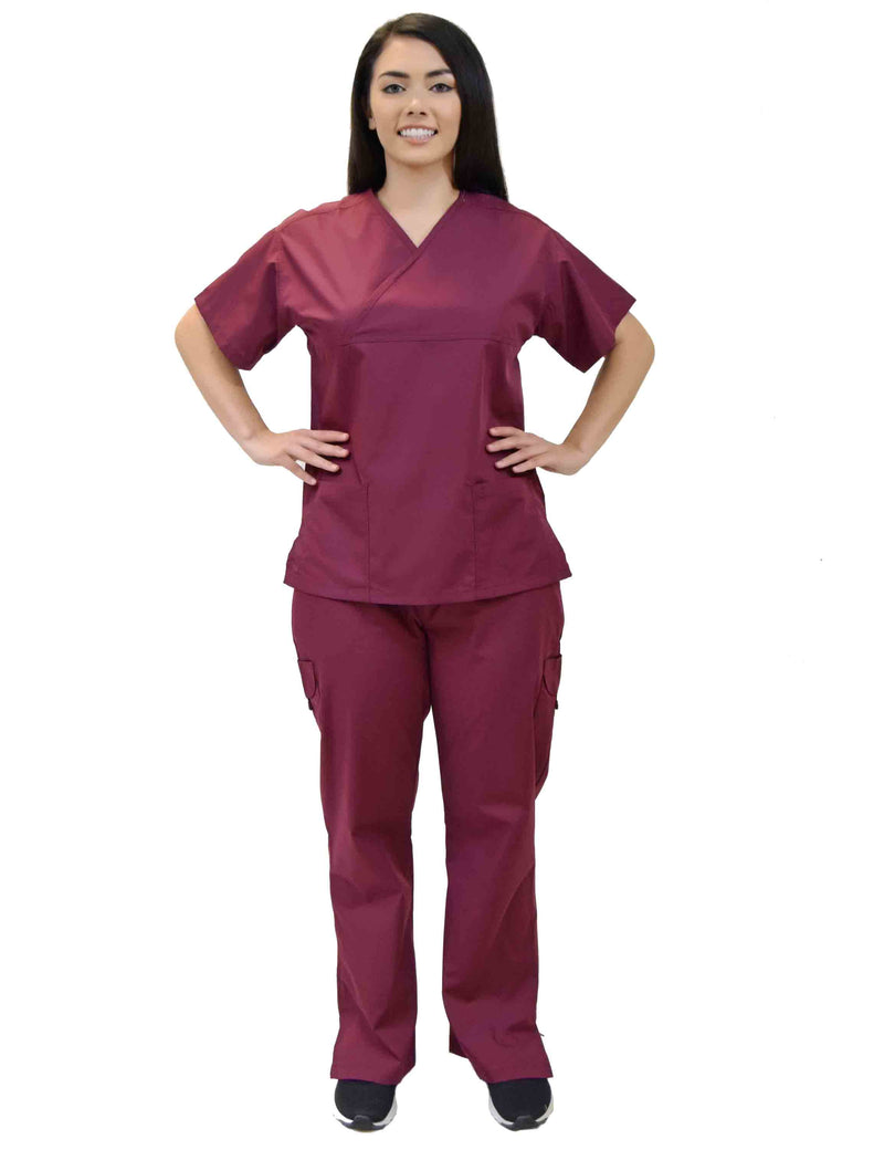 Lizzy-B Collection Women's 6 pocket Fashion Set  (Mock wrap top with cargo pant) Burgundy