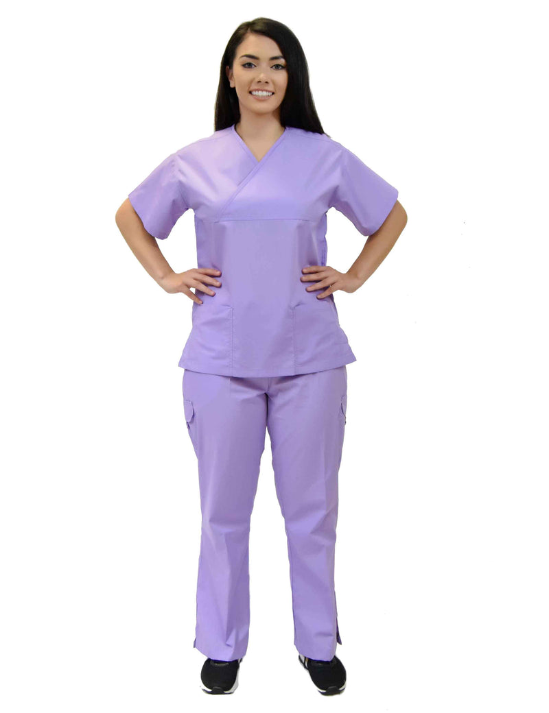 Lizzy-B Collection Women's 6 pocket Fashion Set  (Mock wrap top with cargo pant) Lilac