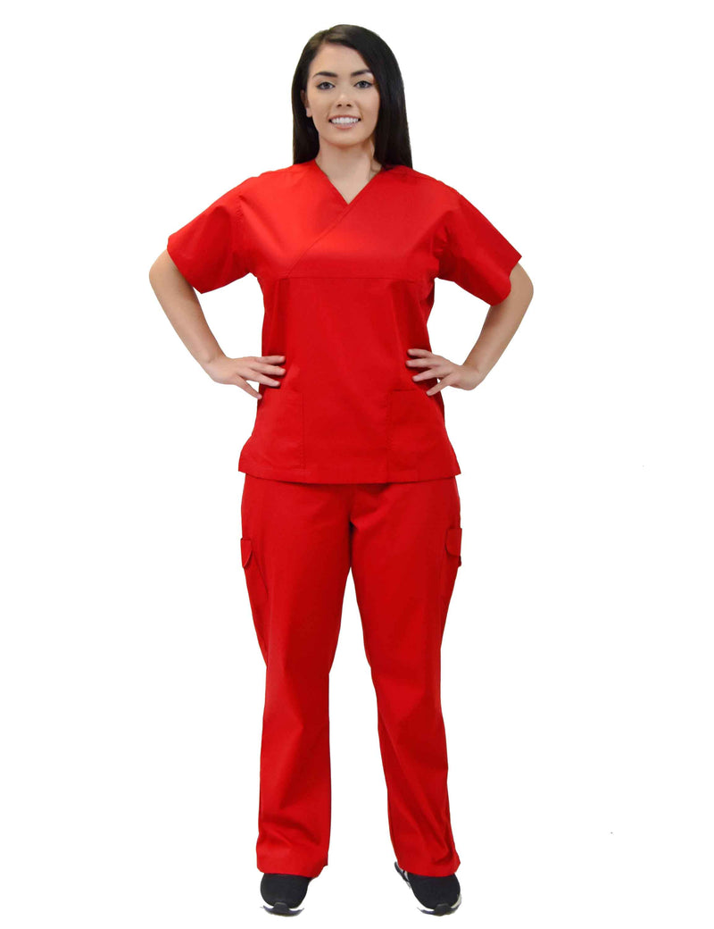 Lizzy-B Collection Women's 6 pocket Fashion Set  (Mock wrap top with cargo pant) Red
