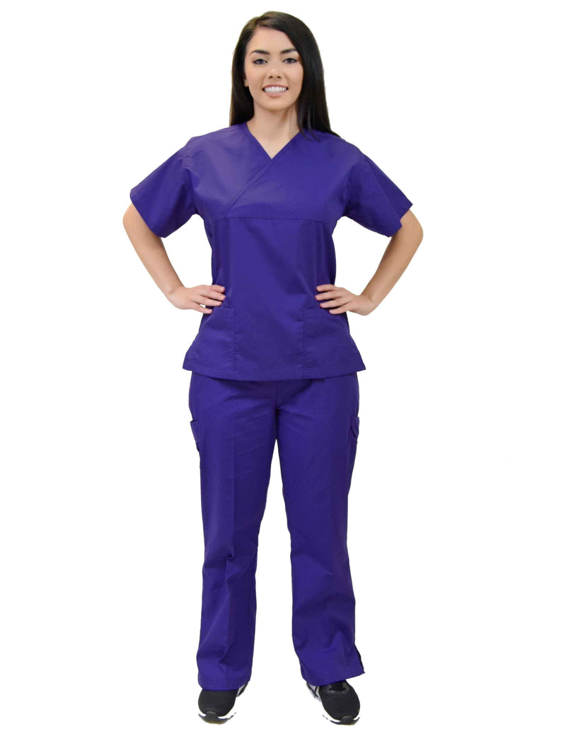 Lizzy-B Collection Women's 6 pocket Fashion Set  (Mock wrap top with cargo pant) Purple