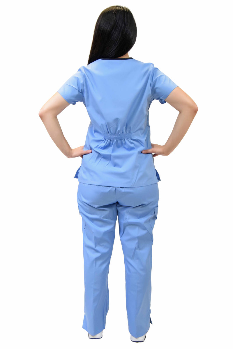 Lizzy-B Collection Women's 6 Pocket Fashion Set (Asiana top with Cargo Pant) Light Blue - Black