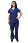 Lizzy-B Collection Women's 6 Pocket Fashion Set (Asiana top with Cargo Pant) Navy White