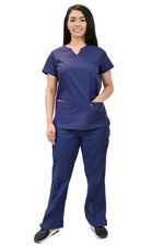 Lizzy-B Collection Women's 6 Pocket Fashion Set (Asiana top with Cargo Pant) Navy Fuschia