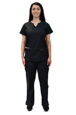 Lizzy-B Collection Women's 6 Pocket Fashion Set (Asiana top with Cargo Pant) Black White