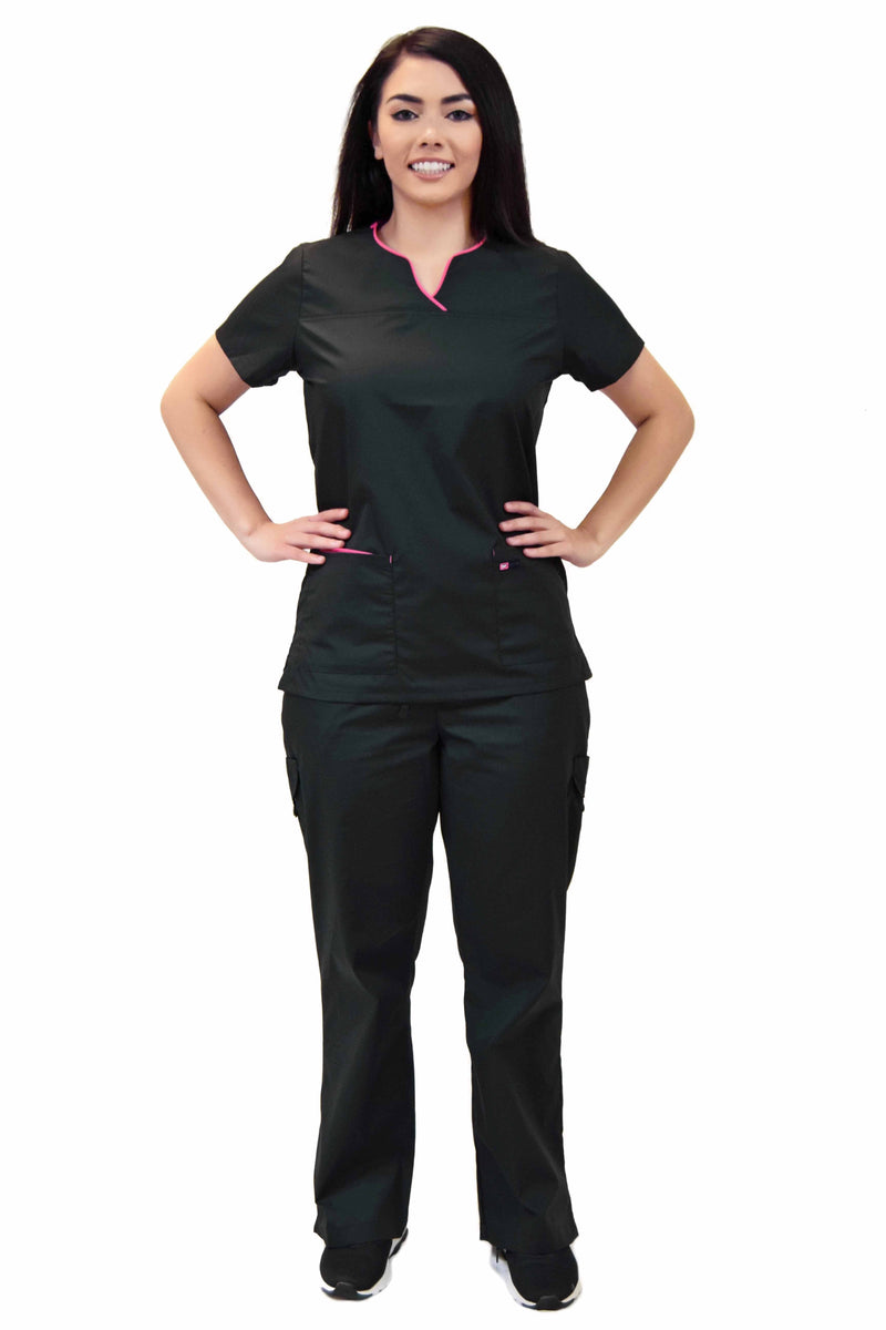 Lizzy-B Collection Women's 6 Pocket Fashion Set (Asiana top with Cargo Pant) Black Fuschia