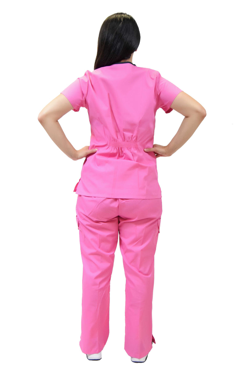 Lizzy-B Collection Women's 6 Pocket Fashion Set (Asiana top with Cargo Pant) Hot Pink Black