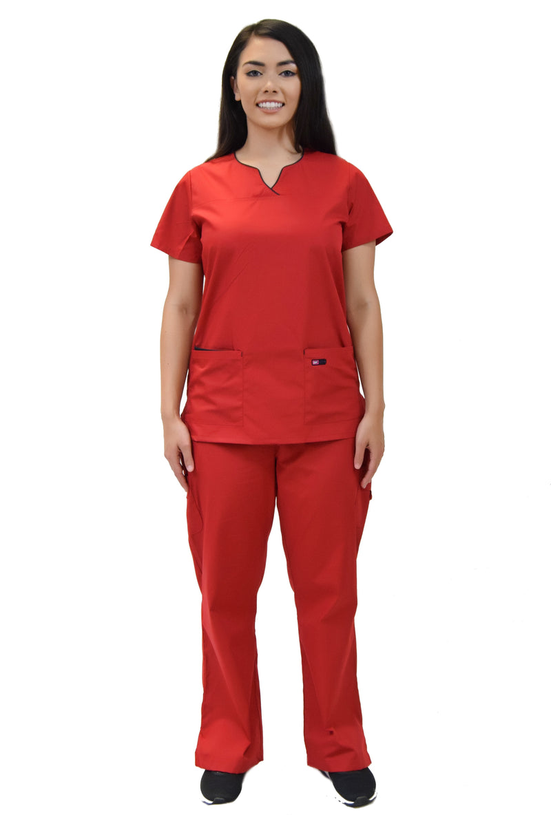 Lizzy-B Collection Women's 6 Pocket Fashion Set (Asiana top with Cargo Pant) Red Black