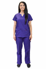 Lizzy-B Collection Women's 6 Pocket Fashion Set (Asiana top with Cargo Pant) Purple White
