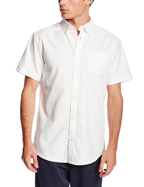 Lee Uniforms Men's Short-Sleeve Oxford Shirt White