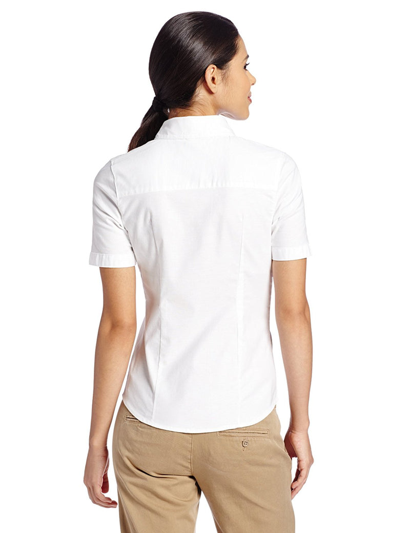Lee Uniforms Junior's' Short-Sleeve Stretch Oxford Blouse White