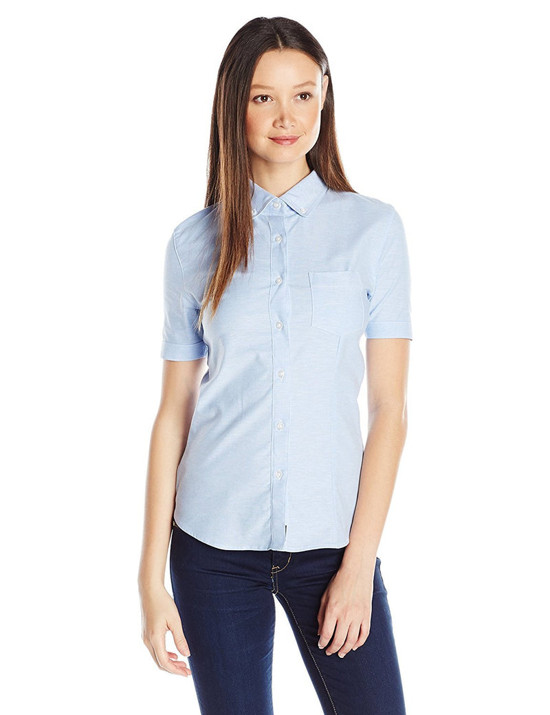 Lee Uniforms Junior's' Short-Sleeve Stretch Oxford Blouse Light Blue