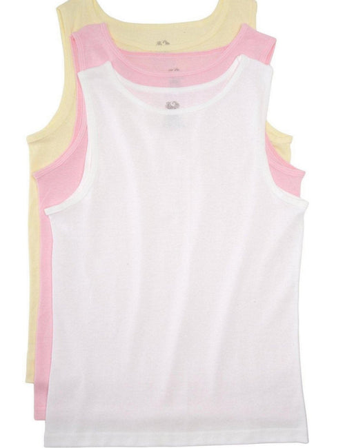 Fruit of the Loom Girls 3-Pack Assorted Tank Tops White