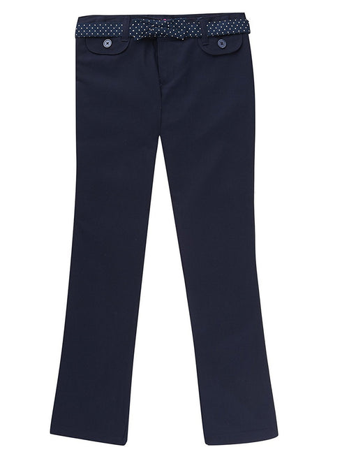 French Toast School Uniform Girls Twill Straight Leg Belted Pants Navy