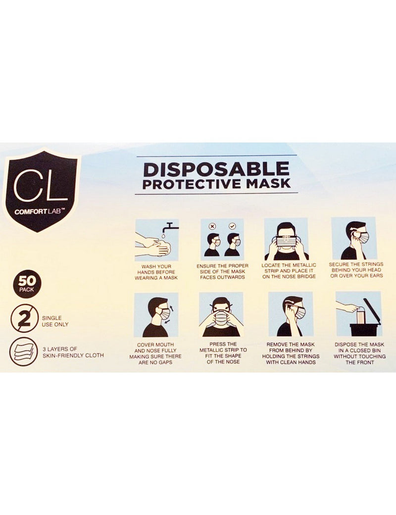 Disposable Protective Face Masks, Pack of 50, 3 layers, FDA approved - The Uniform Superstore