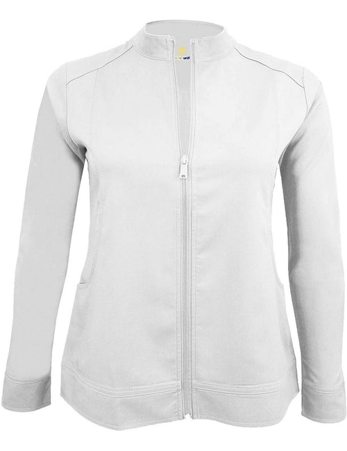 M&M Scrubs Women's Ultra Soft Front Zip Warm-Up Scrub Jacket (5200) White