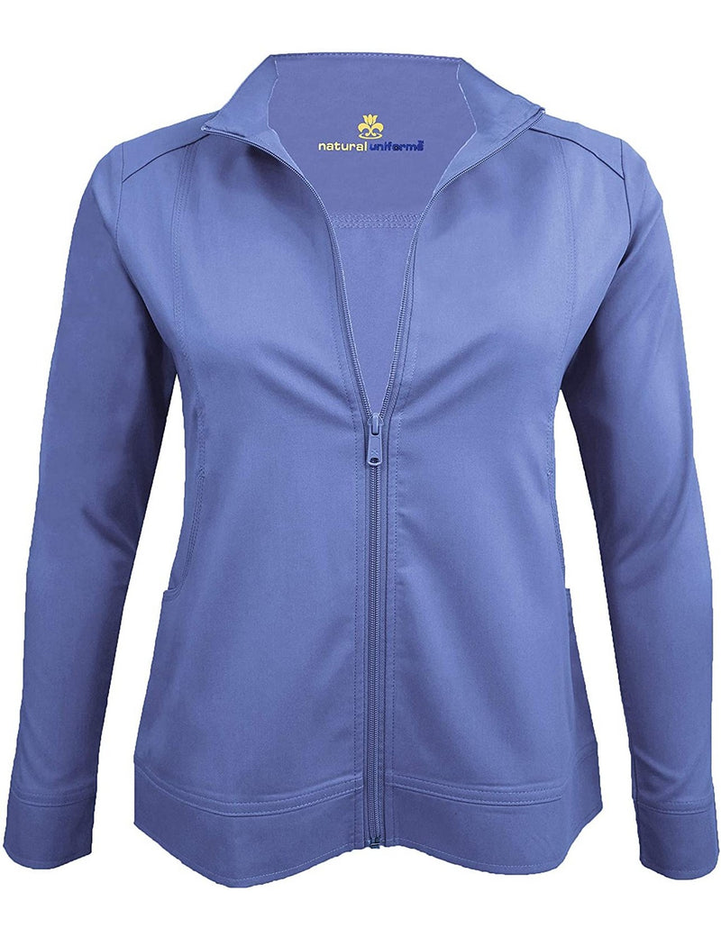 M&M Scrubs Women's Ultra Soft Front Zip Warm-Up Scrub Jacket (5200) Ceil Blue