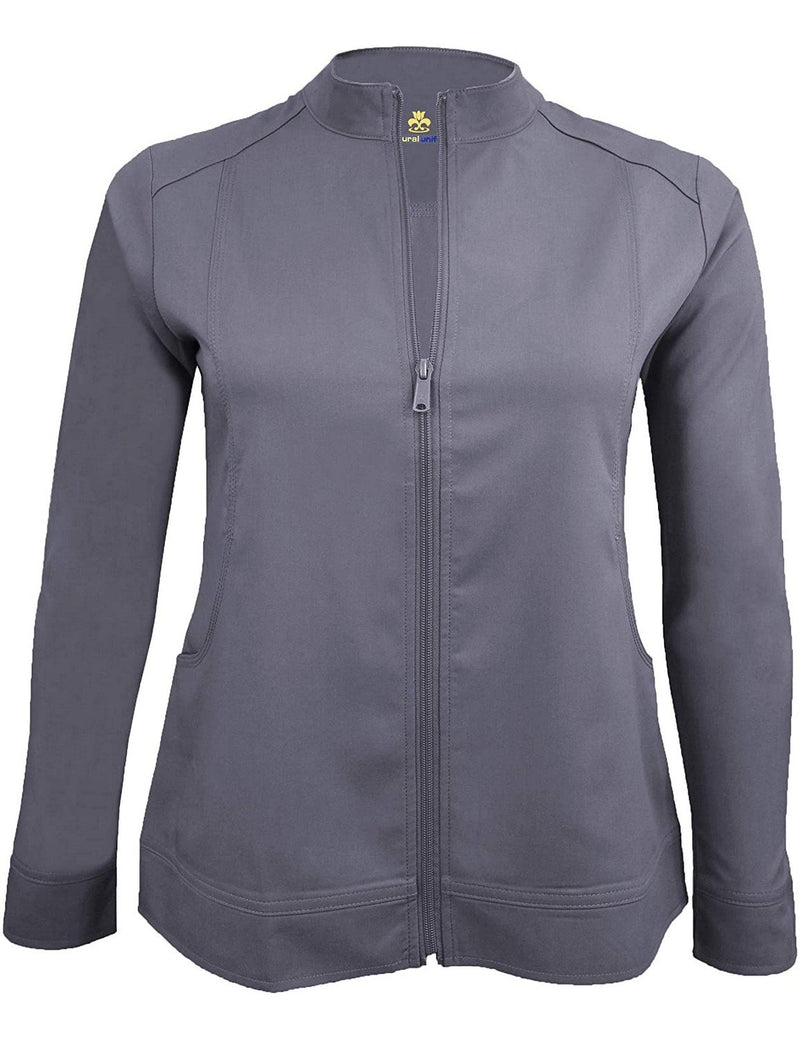 M&M Scrubs Women's Ultra Soft Front Zip Warm-Up Scrub Jacket (5200) Charcoal