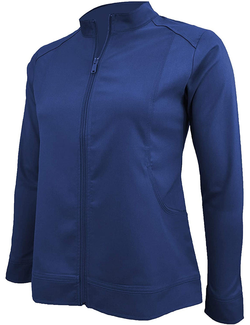 M&M Scrubs Women's Ultra Soft Front Zip Warm-Up Scrub Jacket (5200) True Navy Blue