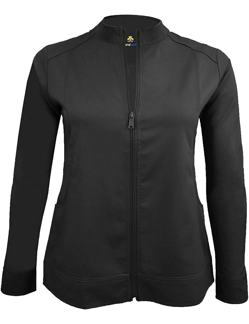 M&M Scrubs Women's Ultra Soft Front Zip Warm-Up Scrub Jacket (5200) Black