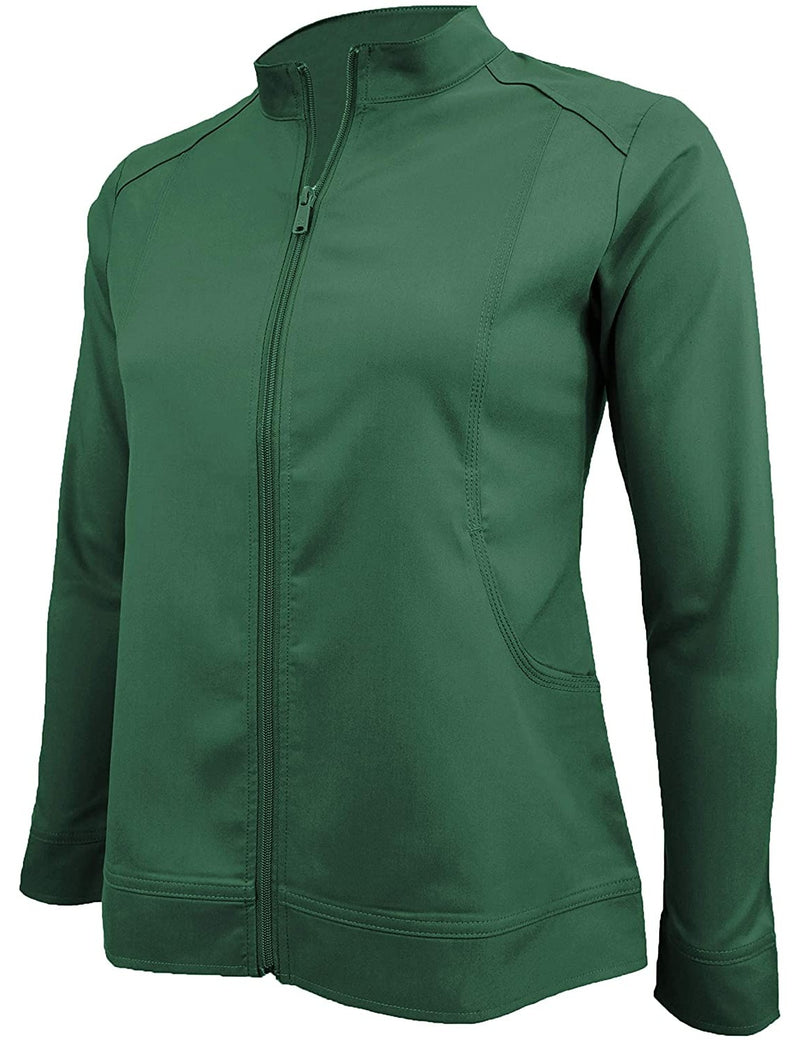 M&M Scrubs Women's Ultra Soft Front Zip Warm-Up Scrub Jacket (5200) Hunter Green
